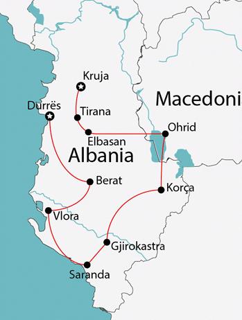 Albania to Macedonia Map