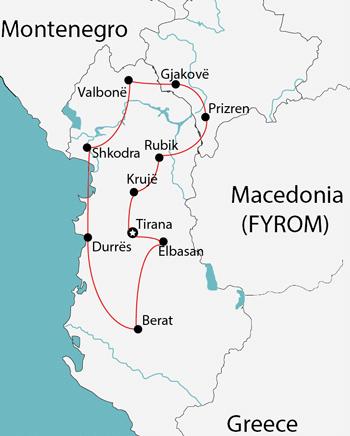 albania tours map