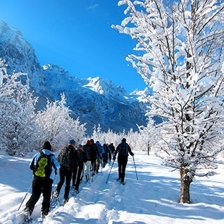 snowshoeing in Albania, Balkans,,