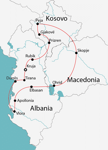 albania kosovo macedonia map