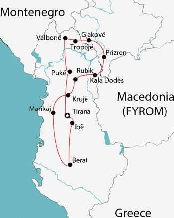 tour of albania kosovo map