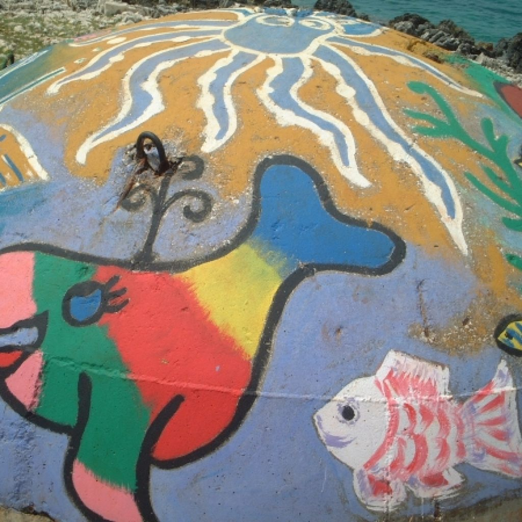 Fish drawn on a bunker
