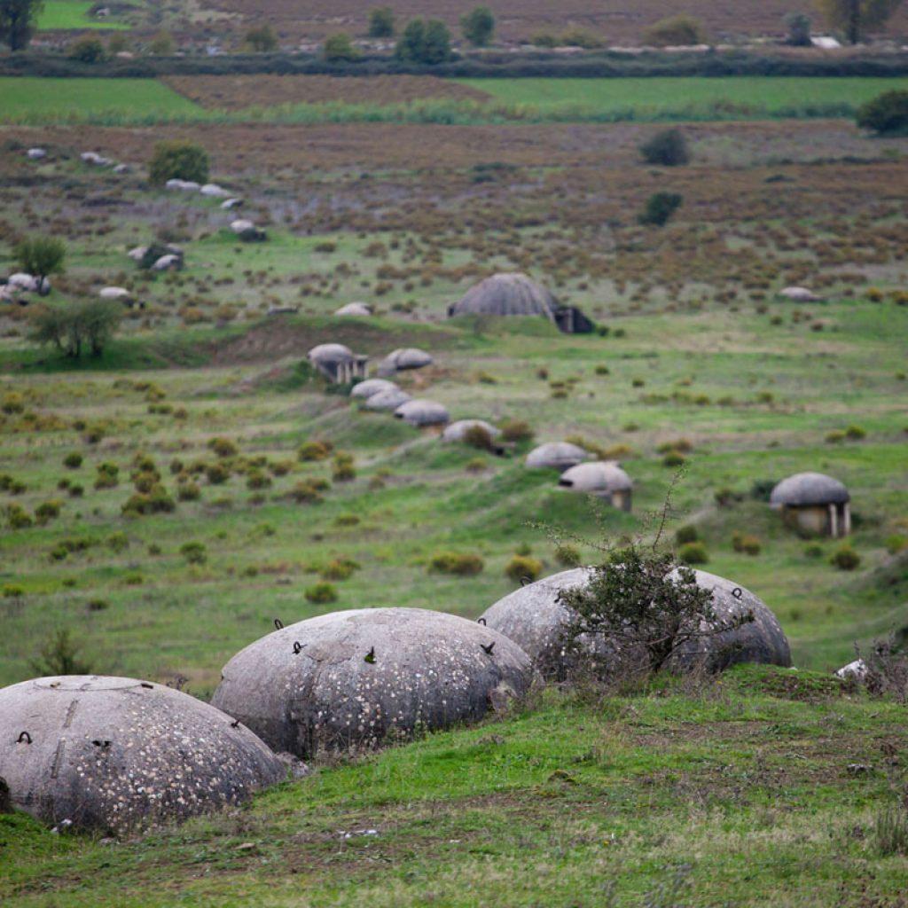 Bunkers in a field