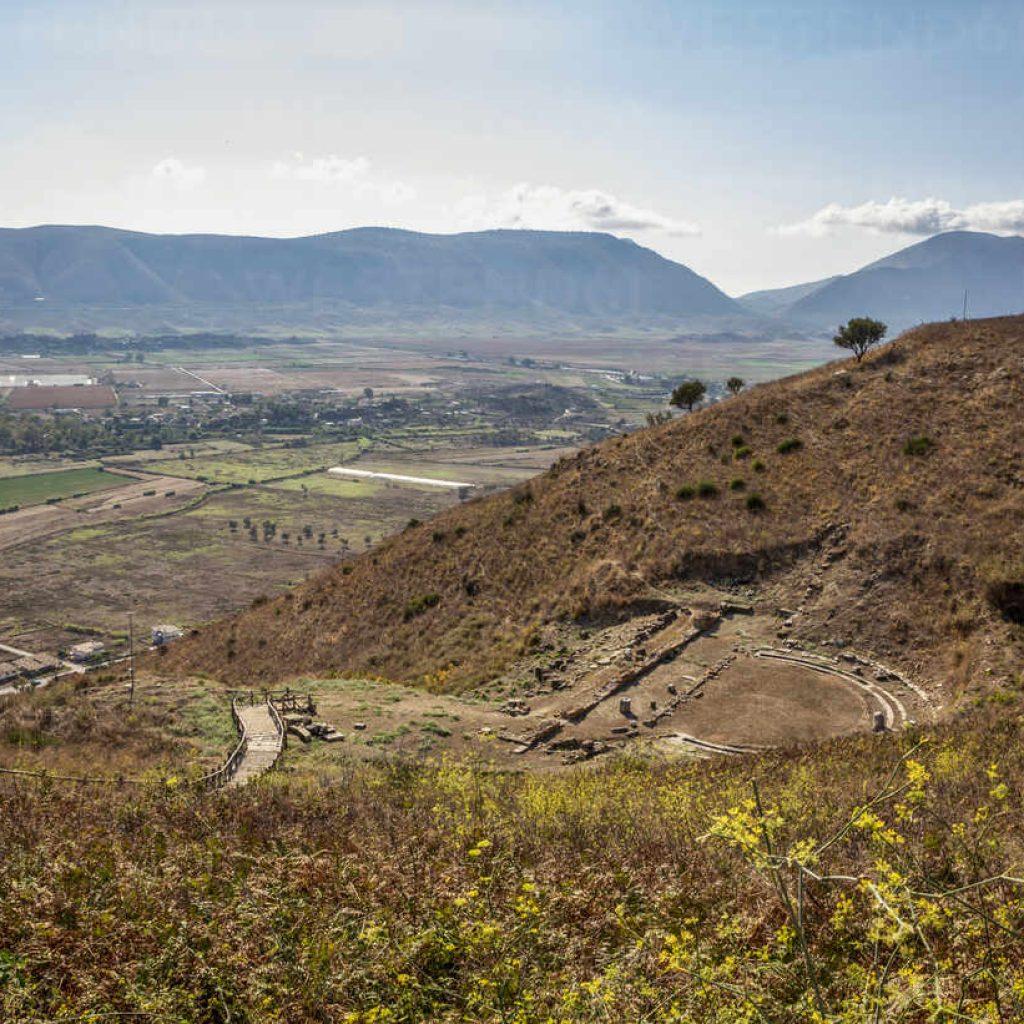 albaniavlorecounty finiq hillside ruins of ancient greek amphitheater MAMF01527